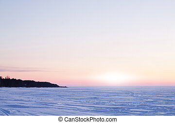 Icy surface of the Ladoga lake