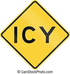 US warning traffic sign: Icy.