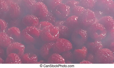 Icy Vapor Over Chilled Raspberries - Cold vapor moves over...