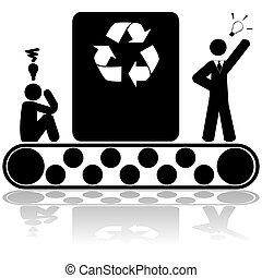 idé, återvinn, begrepp