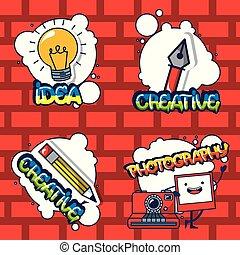 idé, kort, skapande