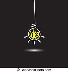 idé, ljus kula, hängande, in, svart fond, -, begrepp,...