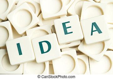 idé, ord, gjord, av, leter, styckena