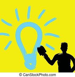 idé, slag, borsta, struktur, begrepp, skapande, måla, entreprenör, uppfinningsrik, oavgjord, stor hand, nyskapande, kreativitet, tänkare, inspiration, man, lätt, lysande, fantasi, idé, lök