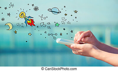 idé, smartphone, begrepp, raket