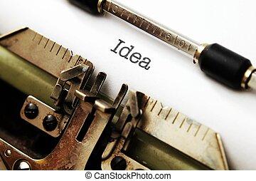 idé, text, på, skrivmaskin