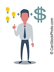 idée, argent, crée, homme