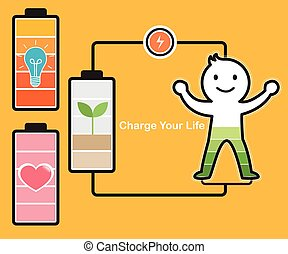 idée, batterie, charger
