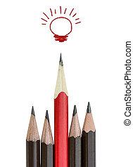 idée, blanc, direction, crayon, ampoule, lumière, concept