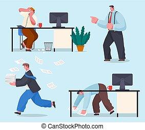 idée, chaos, employé, date limite, peu, bureau, panique, beaucoup, hurry., time., travail, concept.