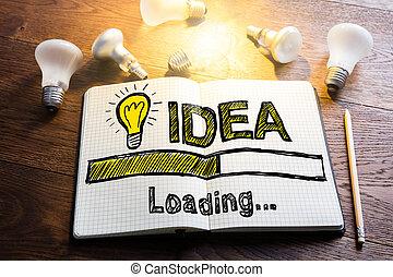 idée, chargement, concept, sur, cahier
