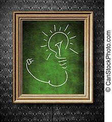 idée, concept, ampoule, tableau, dans, vieux, armature bois