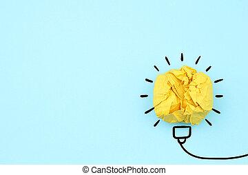 idée, concept, innovation, blanc, inspiration, nouveau, lumière, chiffonné, ampoule, papier, créatif, fond, idée