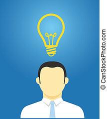 idée, concept., pensée, homme affaires