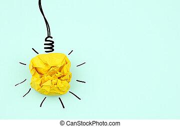idée, concepts, ampoule, papier chiffonné, fond, vert