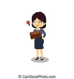idée, dessin animé, ampoule, femme affaires, brillant