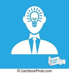 idée, icône, vecteur, -, tête, homme affaires, illustration