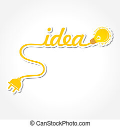 idée, light-bulb, mot