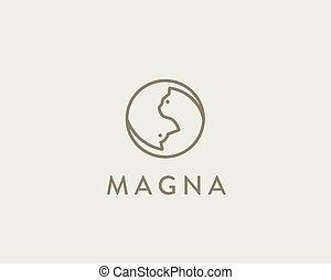 idée, linéaire, chouchou, chien, chat, logotype., vecteur, ying, logo., intelligent, yang
