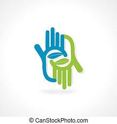 idée, main, concept, vert