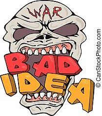 idée, mauvais, dessin animé, crâne, guerre