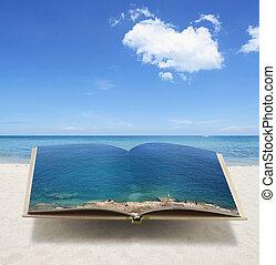 idée, océan, livre, conceptuel, ouvert, 3d