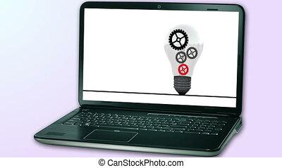 idée, ordinateur cahier, engrenages, fond, animé, animation