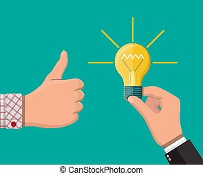 idée, projection, haut, main, autre, pouces, mains, ampoule