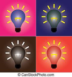 idée, représenter, ensemble, coloré, filament., brûlé, ampoules, vibrant, projection, résoudre, incandescent, boîte, solution, clair, incandescent, lumière, concepts., coloré, problème, créativité