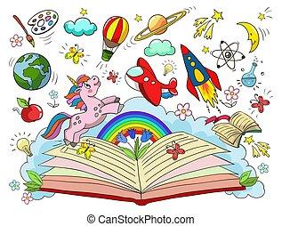 idée, stars., fusée, kindergarten., ouvert, la terre, concept, livre, balloon, lune, air, vecteur, imagination, illustration, licorne, nouveau, -, jupiter, créativité, école