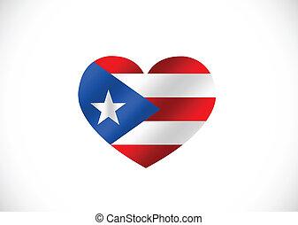 idée, thèmes, rico, drapeau, conception, puerto