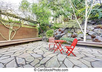 idée, yard postérieur, conception, landscaping