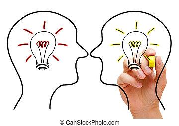idées, confrontation, deux