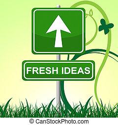 idées, créatif, indique, invention, frais, exposer