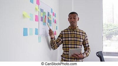 idées, homme, mélangé, sien, présentation, course