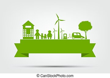 idées, illustration, eco-amical, vecteur, écologie, environnement, ville, concept