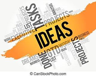 idées, mot, nuage, collage