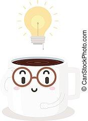 idées, poussée, illustration, étude, hacher, café, mascotte