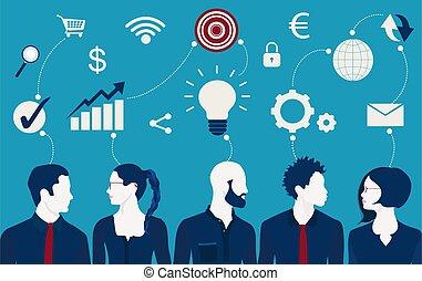 idées, réseau, map., future., ou, communication technologie, partage, collaboration, téléchargement, échange, envoyer un fichier par transfert de données en une ordinateur, data., entre, gens., connexion, esprit