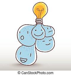 idéia, bulbo, luz