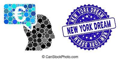 idéia, colagem, euro, ícone, york, sonho, novo, homem negócios, arranhado, selo
