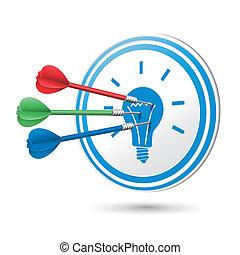 idéia, conceito, alvo, com, dardos, bater, ligado, aquilo