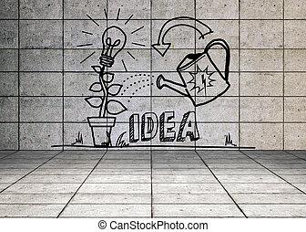 idéia, crescendo, gráfico, sala, cinzento