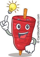 idéia, doner, kebab, personagem, desenho, tem, mascote, gesto, esperto