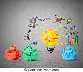 idéia, e, inovação, conceito