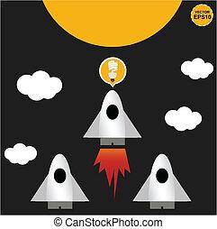 idéia, foguete, lua