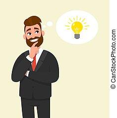 idéia, homem negócios, novo, pensativo, macho, pensamento, inovação, dedo, desenho, conceito, jovem, experiência., personagem, bolha, criatividade, segurando, pensando, branca, face., vector., illustration.