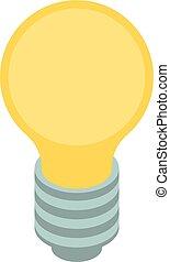 idéia, isometric, ícone, estilo, bulbo