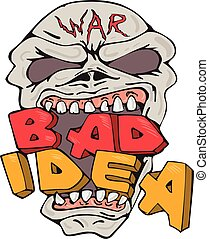 idéia, mau, caricatura, cranio, guerra