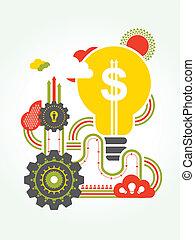 idéia negócio, conceito, ilustração